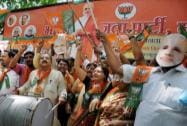 BJP activists celebrate election results
