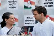 Sonia Gandhi with party Vice President Rahul Gandhi at a press conference in New Delhi