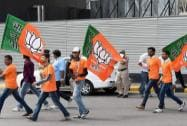 BJP supporters at the IGI Airport to welcome Narendra Modi