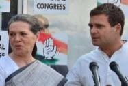Sonia and Rahul Gandhi address the media