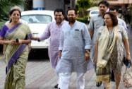 Naqvi along with other BJP leaders coming out of Election Commission office