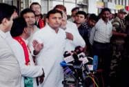 Akhilesh Yadav addresses the media in Ahmedabad
