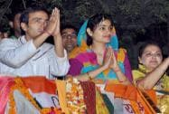 Jaya Pradha & Jayant Chaudhary during a road show in Mathura