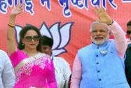 Narendra Modi with Hema Malini during an election rally in Mathura