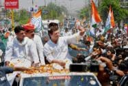 Rahul Gandhi & Sachin Pilot  during a road show in Alwar