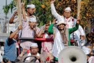 Shazia Ilmi takes part in an election campaign road show in Guwahati