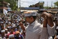 Arvind Kejriwal addresses an election campaign in Amethi