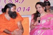 Hema Malini and Baba Ramdev address media in Vrindavan