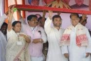 Rahul campaigns with Tarun Gogoi