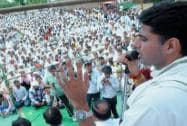 Sachin Pilot addresses a rally in Mathura