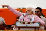Narendra Modi addresses an election campaign rally in Sant Kabir Nagar