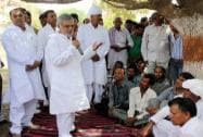 C P Joshi campaigns at a village near Jaipur