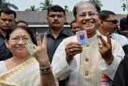 Tarun Gogoi shows his ink-marked finger