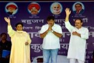Mayawati with party candidates Rakesh Pandey and Jitendra Singh 'Bablu' at an election campaign