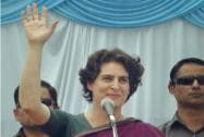 Priyanka Vadra addresses an election campaign meeting in Raebareli