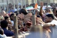 Sonia Gandhi talks with supporters