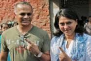 Priya Dutt shows her inked  finger