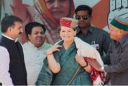 Sonia Gandhi during an election rally in Kullu