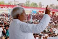 Lalu Prasad addresses an election rally at Motihari in Bihar