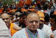 Amit Shah and Arun Jaitley during BJP's protest against EC in Varanasi