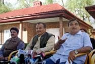 Gadkari addresses the media in Srinagar