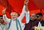 Narendra Modi in an election rally at Motihari in Bihar