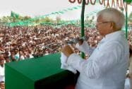 Lalu Prasad addresses an election rally