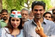 Mohd. Kaif shows his inked finger