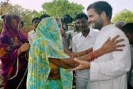 Rahul Gandhi interacts with a voter