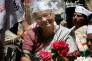 Medha Patkar during a road show after filing her nomination paper