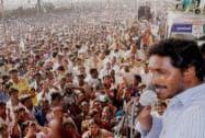 Jagan Mohan Reddy addresses at Hujurnagar Road show during the election campaign in Nalgonda district of AP