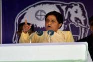 Mayawati at an election campaign rally