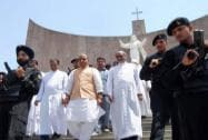 Rajnath Singh with Christian priests during a visit to the Cathedra Church in Lucknow