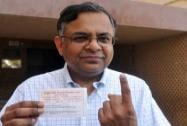 N Chandrasekaran casts his vote