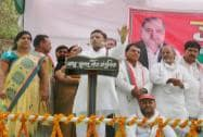Akhilesh Yadav addresses an election rally in Azamgarh