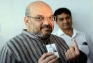 Amit Shah shows his inked finger