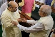 LK Advani with Amit Shah at the Central Hall of Parliament