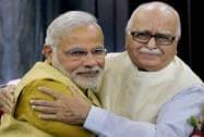 Narendra Modi hugs LK Advani