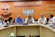 Narendra Modi with senior BJP leaders during the party's parliamentary board meeting in New Delhi
