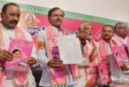 K.Chandra Sekhar Rao with party leaders releasing candidates list along with party Manifesto
