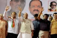Rajnath Singh during an election campaign in North Mumbai