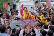 Hema Malini during her election campaign in Mathura