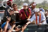 Arvind Kejriwal with Gul Panag during an election campaign