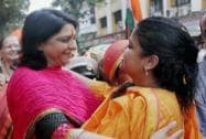 Priya Dutt and  Poonam Mahajan greeting each other on Gudhi Padava