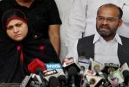 Sabir Ali alongwith his wife address a press conference