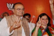 Arun Jaitley & Meenakshi Lekhi during a meeting with party workers
