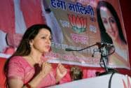 Hema Malini addresses during her election campaign rally in Mathura