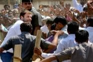 Rahul Gandhi during an election rally at Godda, Jharkhand