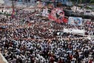 Supporters during the election campaign rally of DMK