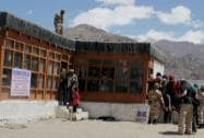Voters  in queue to cast their vote at a polling station in Leh